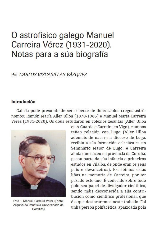 O astrofísico galego Manuel Carreira Vérez (1931-2020). Notas para a súa biografía